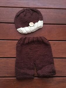 Newborn Baby Girl Boy Knit Unisex Hat & Pants Crochet 2 Piece Set Photo Props