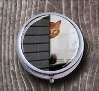 CAT HIDDEN PILL BOX ROUND METAL -jfg6Z