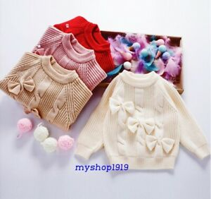 Girls Top Sweater Knitted Warm Autumn Winter Long Sleeve Toddler Age 2-6 years