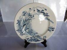 """Assiette en faïence J.VIEILLARD Bordeaux 1850,décor bleu fleurs """"L'Oiseaux super"""