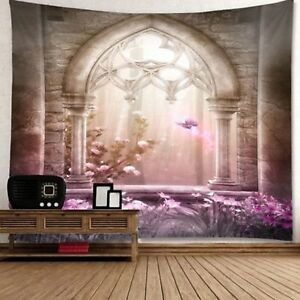Flower Magical Castle Tapestry Wall Hanging Art Tapestry For Room Bedspread