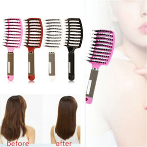 Detangling Comb Hair Combs Boar Bristle  Natural  Nylon Brush Curved