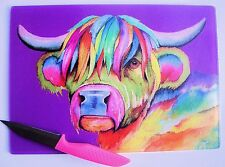 Purple Glass Chopping Board with a HIGHLAND COW  design by artist Maria Moss