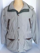 VTG Members Only Beige Down Feather Size M Jacket Removable Hood Leather Trim
