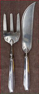 French Art Deco Sterling Silver Pie Cake Serving Set