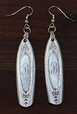 """Antique Vintage Spoon Community Adam Mono """"B"""" Earrings Silverware Plate Jewelry"""