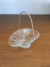 Avon Miniature Glass Basket With Goldtone Handle