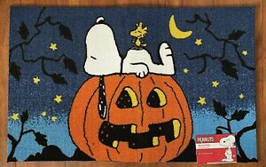 "Peanuts Snoopy Great Pumpkin Halloween Accent Rug Mat 20""x32"" Fall Holidays New"