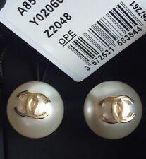 NWT Chanel Runway XL Pearl CC Stud Logo Gold EARRINGS