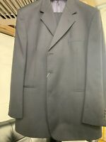 New 44R 3 Button Men's Navy Blue Suit 100% Wool Made in Italy Retail $1295