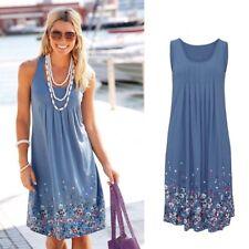 UK Plus Size Womens Boho Floral Sleeveless Summer Holiday Beach Party Midi Dress