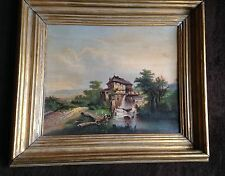 Antique Vintage Oil Painting (made of photo)-1800's- Rare- Gold Guilded Frame
