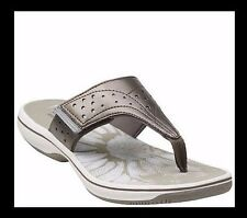 Clarks Slide Thong Sandals - Brinkley Star Size Size 11M New Gray QVC $48.00