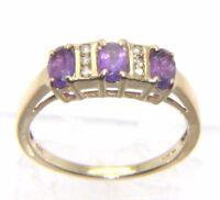 Ladies 9carat 9ct yellow gold Amethyst & Diamond ring UK size L 1/2