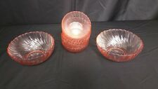 1980's Pink ROSALINE from ARCOROC France - 6 - salad/desert bowls and 2 bowls