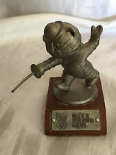 Games Of The XXIVth Olympiad Seoul Korea 1988 Pewter Statuette Fencing