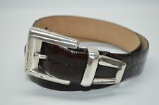 Fossil Brown Genuine Leather Croco Embossed Boho Chic Casual Belt Size M