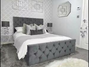 Plush Velvet Chesterfield Sleigh Bed And Memory Foam Mattress in All Sizes