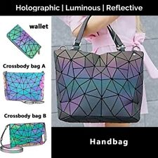 丨丨Geometric Luminous Women Purse Holographic Reflective Flash Colorful Daypacks