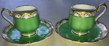 (2) Royal Albert Demitasse Cups & Saucers-Green & Gold