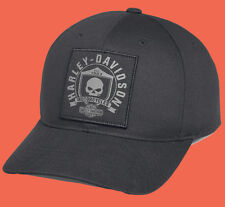HARLEY DAVIDSON Mens Willie G Skull Shield Patch Black Cotton Baseball Cap