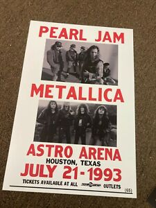 Pearl Jam Metallica 1993 Houston Texas Astro Cardstock Concert Poster 12x18