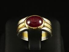 Schicker Rubin Cabochon Ring 3,52ct  12,7g 750/- Gelbgold & Weißgold