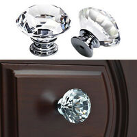 30mm Diamond Knob Crystal Glass Door Drawer Cabinet Wardrobe Pull Handle