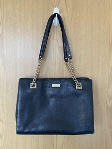 Kate Spade Black Leather Gold Chain Shoulder Bag