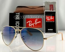 Ray-Ban RB3025 Aviator Sunglasses 001/3F Gold Frame Blue Gradient Lens 55 Small