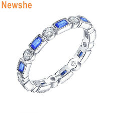 Newshe Eternity Ring Wedding Band Round White Blue Emerald Cz Sterling Silver