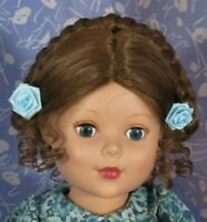 Global ELLEN Auburn Doll Wig Full Cap Size 12-13, Braided Up-do with Bangs