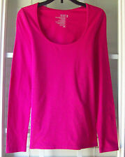 Old Navy Long Sleeve Solid Fuchsia Cotton Blend Casual Knit Top-Petite XSTP