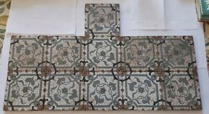 Set of Eleven Minton Blockprinted Mosaic Tiles from a Hearth