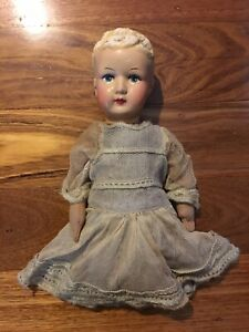 Antique Bisque Childs Toy Baby Doll in Dress Old