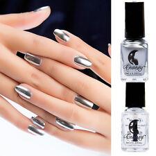 2Pcs 6ml Metallic Nail Polish Magic Mirror Nail Art Silve Varnish & Base Coat