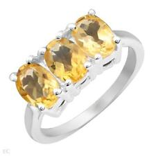 2.55ctw 3 Stone Oval Citrine Ring in SSilver -Size 7.0