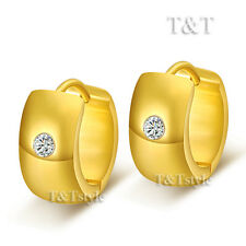 T&T 14K Gold GP Stainless Steel THICK Rounded Hoop Earrings (EG51)