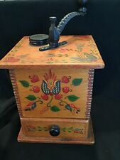 Vintage Lap Coffee Mill Grinder Dovetail Body Painted Tulips Hearts Iron Drawer