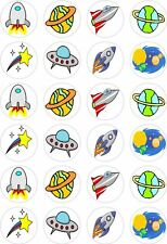 24 Space Ship Rocket Planets Cupcake Fairy Cake Toppers Edible Rice Wafer Paper