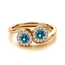 1.24 Cts Blue VS2-SI1 2 Stone Diamond Solitaire Engagement Ring 14k Yellow Gold