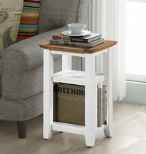 Small Oak White Painted Magazine Rack Side Table | Cream Wooden Coffee/End Stand