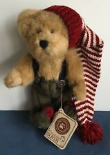 """Boyds Bears ELFBEARY Plush 8"""" NWT Xmas Red Striped Stocking Cap Jointed 918358"""