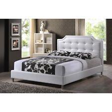 Baxton Studio Carlotta White Modern Bed with Upholstered Headboard-Full NEW
