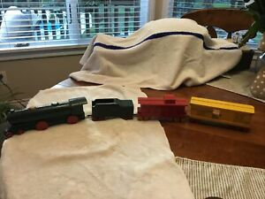 Antique Strombecker Wooden Train and Car Set of Four - LARGE CARS