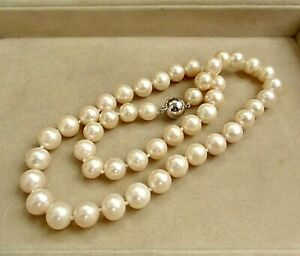LOVELY LARGE FRESHWATER 9mm CULTURED PEARL NECKLACE MAGNETIC CLASP