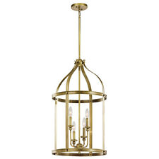Kichler Steeplechase 43107NBR 4 Light Chandelier in Natural Brass Pendant 2-Tier
