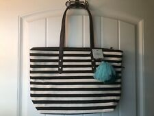 BNWT Fossil Jenna Tote Bag - Black and White Stripe