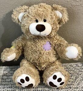 Build A Bear CHAMP,Champion Fur Kids Beige Teddy,Patches,Corduroy Ears,Paws,Feet