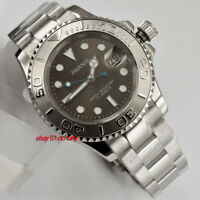 Parnis 41mm Luminous Gray Dial Sapphire Crystal Date Automatic Wrist Watch
